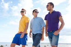 Amis de sourire dans des lunettes de soleil marchant le long de la plage Image libre de droits