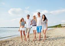 Amis de sourire dans des lunettes de soleil marchant sur la plage Photographie stock libre de droits
