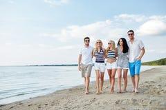 Amis de sourire dans des lunettes de soleil marchant sur la plage Photos stock