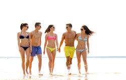 Amis de sourire dans des lunettes de soleil sur la plage d'été Photos libres de droits