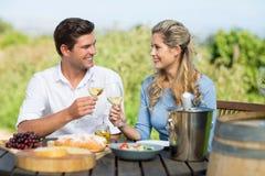 Amis de sourire grillant des verres à vin à la table Images stock