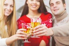 Amis de sourire heureux buvant du champagne par l'arbre de Cristmas Images stock