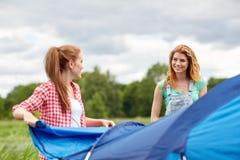 Amis de sourire installant la tente dehors Photo stock