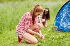 Amis de sourire installant la tente dehors Photos stock