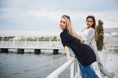 Amis de sourire posant pour l'appareil-photo dehors sur le pilier de plage Photos stock