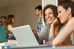 Amis de sourire s'asseyant utilisant l'ordinateur portable Photo stock
