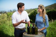 Amis de sourire se tenant prêt des bouteilles de vin sur le baril Photo stock