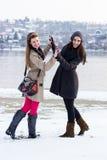 Amis de sourire tenant des mains, hiver Photo stock