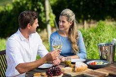 Amis de sourire tenant des verres à vin tout en se reposant à la table Photographie stock