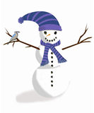 Amis de temps froid, le bonhomme de neige et le geai bleu Image libre de droits