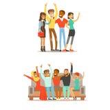 Amis de Tudent tout autour du monde et de l'illustration internationale heureuse de bande dessinée de vecteur d'amitié Image libre de droits