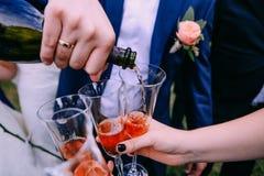 Amis de vacances de gobelet de bouteille de vin de marié Photographie stock libre de droits