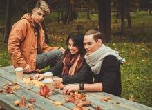 Amis derrière la table en bois en parc d'automne Image stock