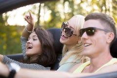 Amis des vacances dans la voiture Image stock
