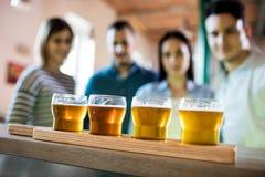 Amis devant l'échantillonneur de bière Image libre de droits