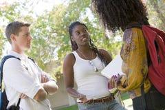 Amis discutant au campus d'université Image stock