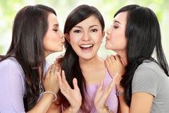 Amis embrassant la joue Photos stock