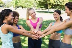 Amis empilant des mains en parc Images libres de droits