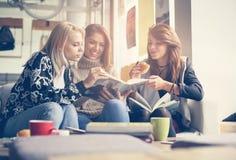 Amis en café Trois meilleurs amis apprenant et mangeant ensemble Images libres de droits