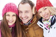 Amis en hiver Photos libres de droits