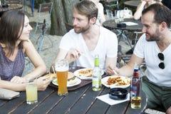 Amis en jardin d'été Images libres de droits