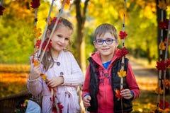Amis en parc d'automne Photos stock