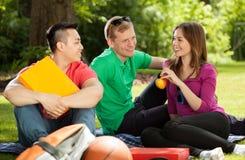 Amis en parc jouant l'absence injustifié de l'école Images libres de droits