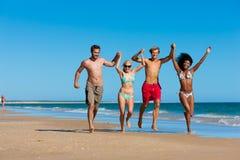 Amis en vacances à la plage Photos stock