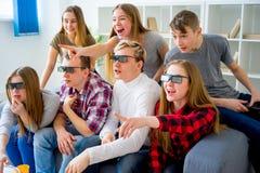 Amis en verres 3D Photo stock