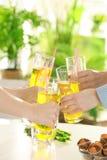 Amis encourageant avec des verres Photographie stock libre de droits