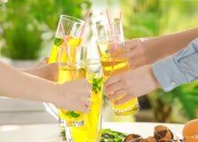 Amis encourageant avec des verres Photo libre de droits