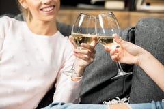 Amis encourageant avec du vin Image libre de droits