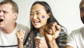 Amis encourageant la coupe du monde avec le drapeau peint Images libres de droits
