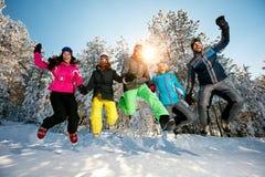 Amis espiègles sautant dans la neige Photographie stock libre de droits