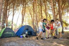 Amis espiègles sur le champ au terrain de camping Images stock