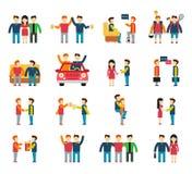 Amis et équipe sociale de relations amicales plate Images libres de droits