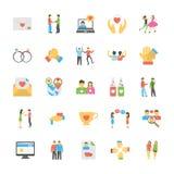 Amis et icônes plates de relations amicales réglées Photos stock