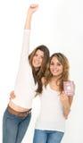 Amis et passeport heureux Photo libre de droits