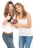 Amis et passeport heureux Images stock