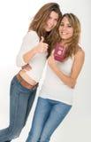 Amis et passeport heureux Image stock