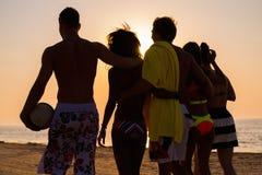 Amis ethniques multi marchant sur une plage Photo libre de droits