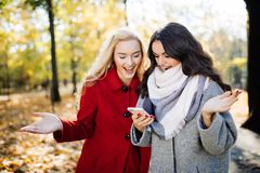 Amis euphoriques observant des vidéos sur un smartphone et se dirigeant à l'écran étonné en parc d'automne Photographie stock