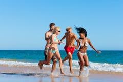 Amis exécutant des vacances de plage Photographie stock