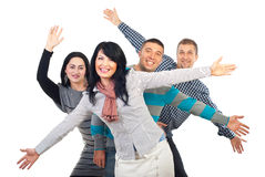 Amis Excited avec des bras dans le ciel Photos stock