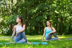 Amis féminins établissant et faisant le yoga dehors Images libres de droits