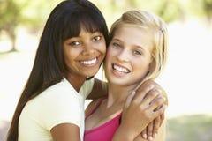 Amis féminins étreignant en parc Photographie stock libre de droits