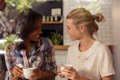 Amis féminins agissant l'un sur l'autre les uns avec les autres tout en ayant le café Photos stock