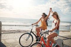 Amis féminins appréciant le recyclage un jour d'été Images libres de droits