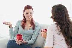 Amis féminins appréciant une causerie au-dessus de café à la maison Photos stock