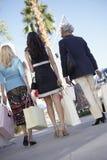 Amis féminins avec des sacs à provisions Image stock
